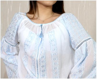 """Blouse Roumaine - Modèle Femme """"Lidia"""" avec fil de soie bleue- Vesnic ie"""