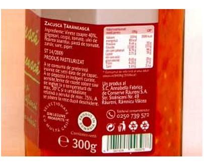 Zacusca de légumes paysanne - Raureni - 300g